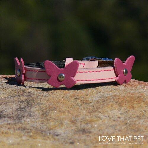 Papillion Pink Leather Cat Collar by Hamish McBeth